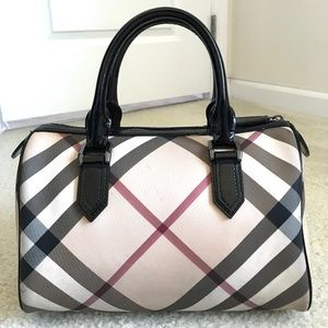Burberry supernova check small bowling tote